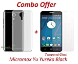 Yureka Black / Yu Yureka Black / Micromax Yu Yureka Black (COMBO OFFER) Soft Silicone Flexible Crystal Clear Back Case Cover + Tempered Glass Screen Protector (5 inch Display) by RidivishN (Transparent)