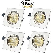 LED Focos Empotrables GU10 Luz de Techo 5W Sustituye 50W Hal¨®gena Blanco C¨¢lido 2700K,400ml,AC 220V con Marco Cuadrado (Pack de 4)