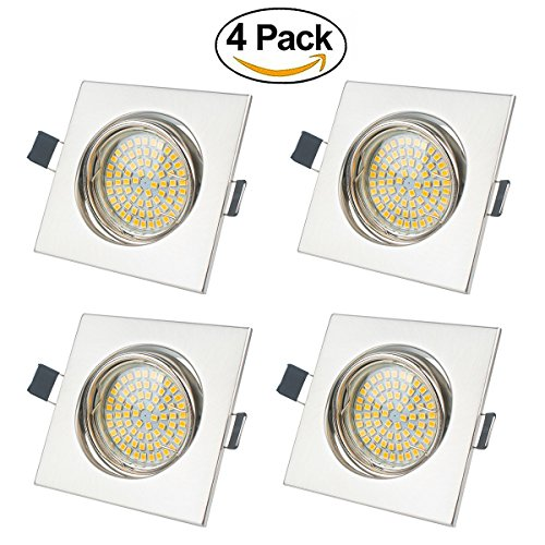 LED Recessed Light Pivoting ,Exchangeable GU10 Bulb 5 Watt ,450 Lumen,Warm White,Stainless Steel Brushed Square Ceiling Light Set of 4