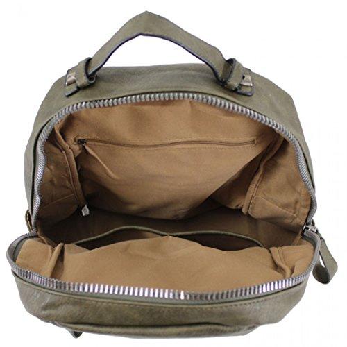 LeahWard Mädchen Qualität Faux Leder Rucksack Taschen Frauen Nizza Rucksack Tasche Handtaschen für Schulferien Rucksack für Jungen CW9050 (M9050 Grün Rucksacktasche) M9047 Schmutz Verzierter Zip Rucksack