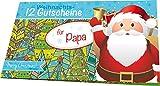 RNK 28728 Weihnachtliches Gutscheinheft für Papa, 12 Gutscheine zum Heraustrennen