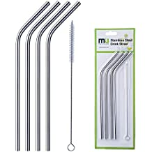 MIU COLOR® Reusable Washable NON-TOXIC Stainless Steel Drinking Straws, Set of 4(including a straw clean brush)