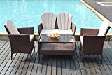 Yakoe Eton Range Outdoor Garden Furniture Conservatory Patio Sofa Chairs and Coffee Table Set - Brown (4-Piece)