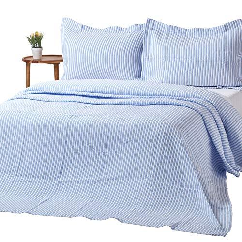 Homescapes gestreifte Tagesdecke in Blau - Weiß, 240 x 260cm -