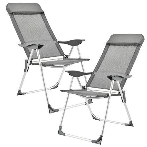 [casa.pro] Set de 2 sillas de Camping Plegables Gris Oscuro Marco de...