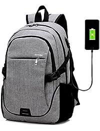 """mochila con el puerto de carga del USB,Gindoly bolsa de libros de mochila casual apto para 15.6 """"portátil utilizado para la escuela de senderismo viaje de negocios de viaje"""