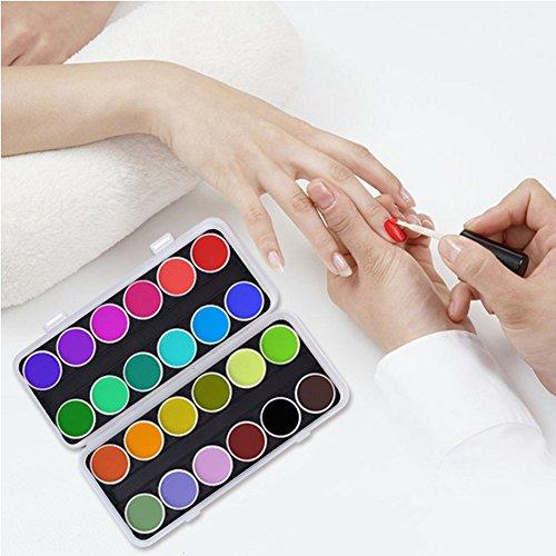 Palette Mélange de Couleur d'Ongle avec Couvercle 24 Compartiments Plateau Boîte pour le Maquillage