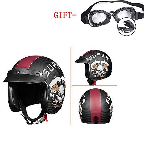 Casco Protettivo Moto, Casco DOT Certificato/Guscio in Fibra di Carbonio Casco Meccanico Integrale Veicolo Harley (occhialeria Regalo),L