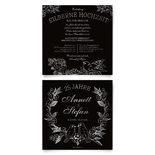 30 x Hochzeitseinladungen Silberhochzeit silberne Hochzeit Einladung individuell - Kratzbild Motiv