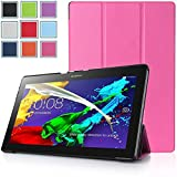Bestdeal® High Quality Ultra Slim Lightweight SmartCover Stand Case for Lenovo Tab 2 A10-70 10.1 inch Tablet PC + Screen Protector and Stylus Pen (Rose Pink)