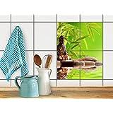 Küchen-Folie, Badezimmerfliesen   Fliesenfolie Sticker Aufkleber Bad Küche Bordüre Küchen-Deko   20x25 cm Design Motiv Buddha Zen - 4 Stück