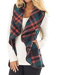 Mujer Chaleco de Cuadros, Primavera y Otoño Sin Cuello Mangas Chaqueta de Pelos Vest Pelo