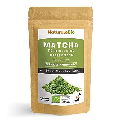 Thé Matcha Bio Japonais [ Premium Qualité ] 50 gr | Thé Vert Matcha en Poudre 100% Naturel | Matcha Green Tea Produit au Japon Uji, Kyoto | Idéal à Boire, pour Cuisiner et dans le Lait | NATURALEBIO®