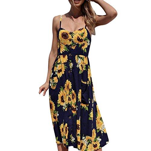 LHWY Kleider Damen Elegant, Sonnenblume Print Camisole Sommer Ärmelloses Button Date Kleid Gelb Navy für Teens Mädchen Tägliches Partykleid (XL, Navy) (Button Pullover Kleid)