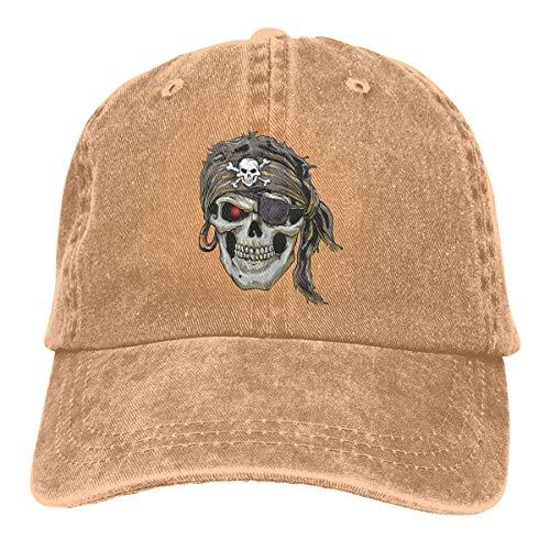 Pirate Skull with Skull and Crossbones Retro Adjustable Cowboy Denim Hat Unisex Hip Hop Black Baseball Caps