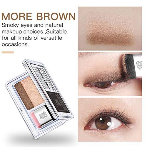MXECO Eyeshadow Lazy Eyeshadow Paleta de sombras de ojos Maquillaje de ojos de dos colores Paleta de sombras de ojos a prueba de agua de larga duración (Tierra)