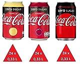 XXL Zuckerfrei Paket: 72 x Cola Zero (24 x Cola, 24 x Cherry, 24 x Vanilla) Einweg-Dosen 0,33 L
