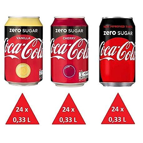 72 x Coca Cola Zero cans dosen canettes latas lattine 0 33 L 24 x zero 24 x zero cherry 24 x zero vanilla