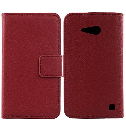 Gukas Design Echt Leder Tasche Für Nokia Lumia 730 Hülle Handy Flip Brieftasche mit Kartenfächer Schutz Protektiv Genuine Premium Case Cover Etui Skin (Dark Rot)