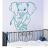 Lzyx Adesivo Murale Modello Piccolo Elefante Per La Decorazione Domestica Della Camera Da Letto Della Scuola Materna Della Parete Del Vinile Carta Da Parati Modellata Dell'Elefante Sveglio 57X57Cm