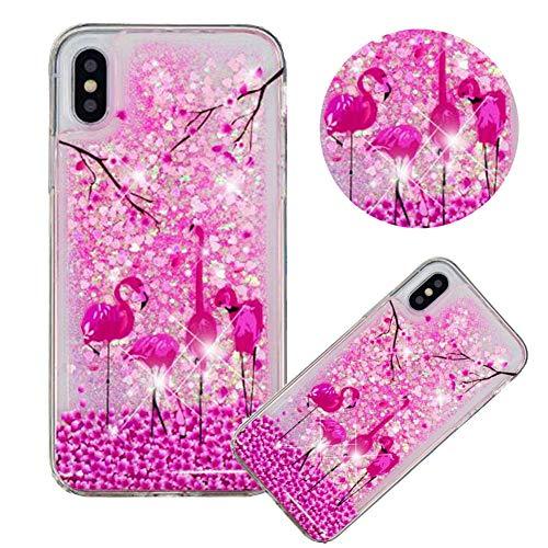 Glitzer Hülle für iPhone XS,Flüssigkeit Silikon HandyHülle für iPhone X,Moiky Luxuriös Mode Flamingo Blume Muster Liebe Herzen Treibsand Pailletten Diamant Flexible Weich Gummi Hülle -