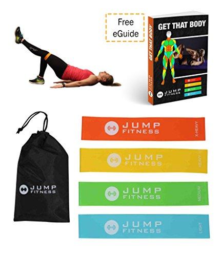 Widerstand Loop Bands-Set 4von Jump Fitness. Verbessert Kraft, Muskeltonus. Geeignet für Zuhause Fitnessstudio Training. Pilates, Yoga