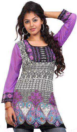 Inde Femmes Tunique Kurti Imprimé Chemisier Indien Vêtements Pourpre