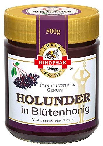 Bihophar - Holunder in Blütenhonig Brotaufstrich Süßungsmittel - 500g (Bienen, Brot)