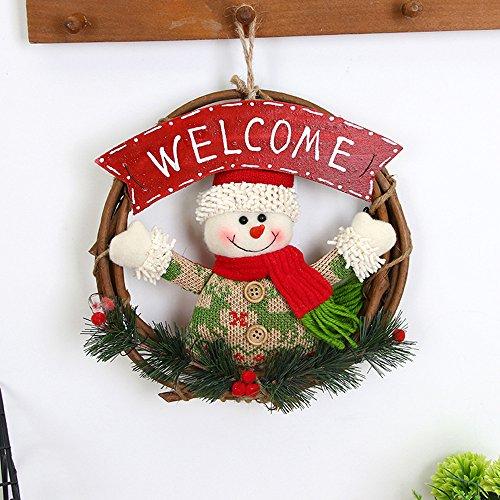 Cunguang addobbi natale babbo natale pupazzo di neve porta ingresso parete parte poinsettia - Addobbi natalizi per la porta ...