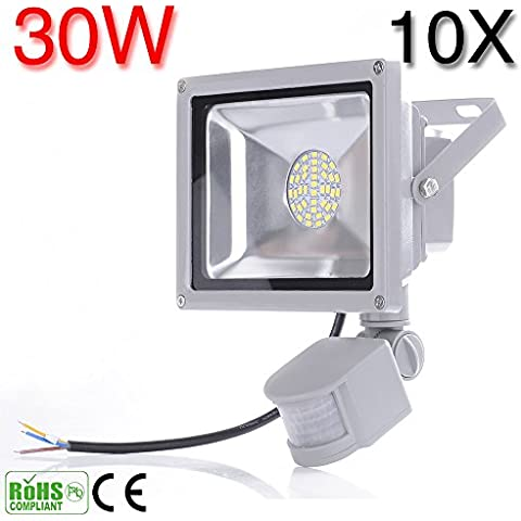 20W 30W 50W 80W LED de inducción PIR sensor de movimiento infrarrojo del cuerpo Flood luces blancas de la lámpara blanco frío/blanco cálido (10, Blanco Frío-30W)