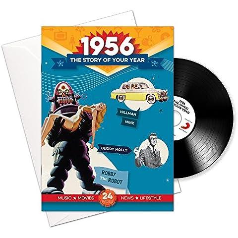 1956 cumpleaños o aniversario regalos - 1956 4-en-1 tarjeta y regalo - Historia de su Año, CD, Music Download - 15 Gráfico originales Canciones - Presente Retro Par…