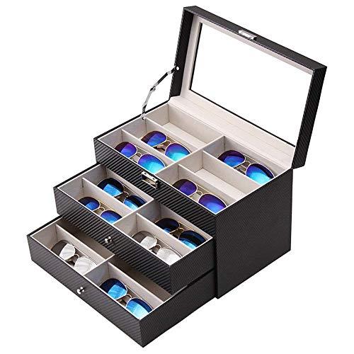 ZOUQILAI Leder Sonnenbrille Box 18 Grid Large Size Sonnenbrille Aufbewahrungsbox DREI-Schicht-Schubladen-Display-Box