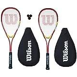 2 x Wilson Hyper Team 300 Squash Racket Set with 3 Squash Balls RRP £85