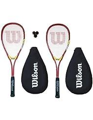 2 x WILSON Hyper Equipo 300 Juego De Raquetas De Squash 3 Pelotas De Squash