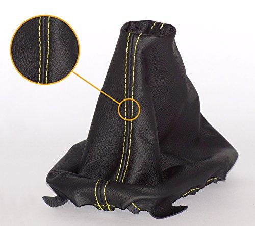 Preisvergleich Produktbild myshopx SA18 Schaltmanschette Schaltsack Sack Schwarz Faden Gelb Echt Leder