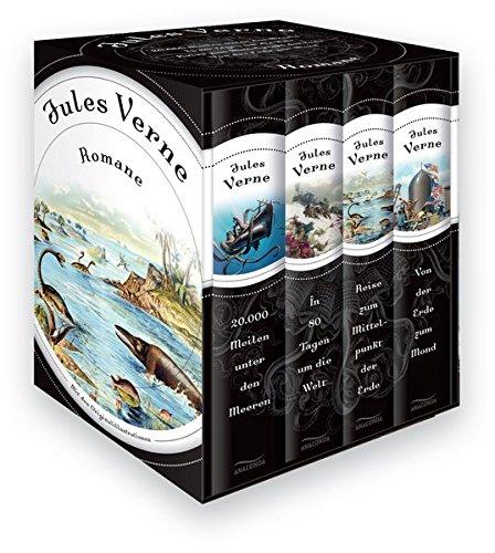 Jules Verne - Romane (Vier Bände im Schuber) - 20.000 Meilen unter den Meeren - In 80 Tagen um die Welt - Reise zum Mittelpunkt der Erde - Von der Erde zum Mond