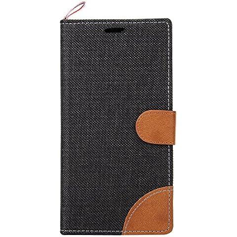 Meet de Sony Xperia Z4 / Z3+ Custodia, (stile cowboy) Per Sony Xperia Z4 / Z3+ PU Pelle Case, / Flip Cover Pelle Stand / Cover Shell / Protettiva Caso / Cover / Protezione / Copertura / Flip Cover Pelle Stand Custodia in pelle con supporto supporto Per Sony Xperia Z4 / Z3+ - nero