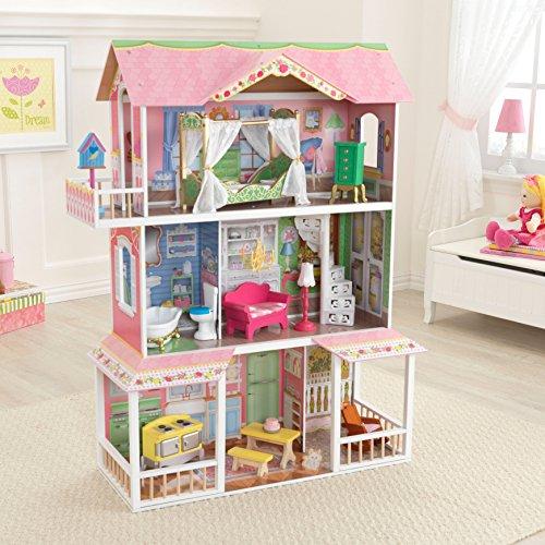 KidKraft 65935 Maison de poupées en bois Sweet Savannah incluant accessoires et mobilier, 3 étages de jeu pour poupées 30 cm