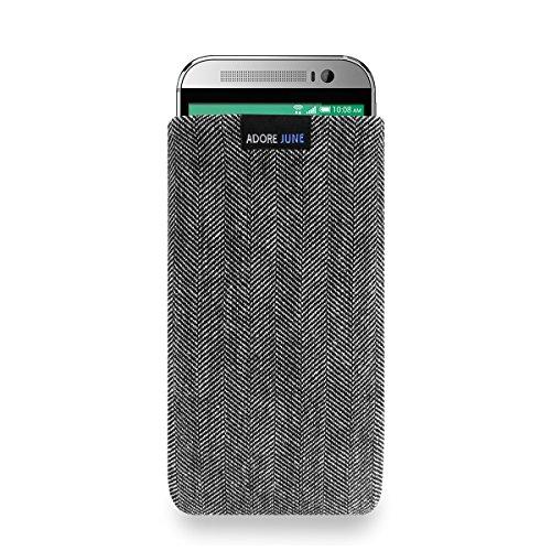 Adore June Business Tasche für HTC One (M9) Handytasche aus charakteristischem Fischgrat Stoff - Grau/Schwarz | Schutztasche Zubehör mit Display Reinigungs-Effekt | Made in Europe