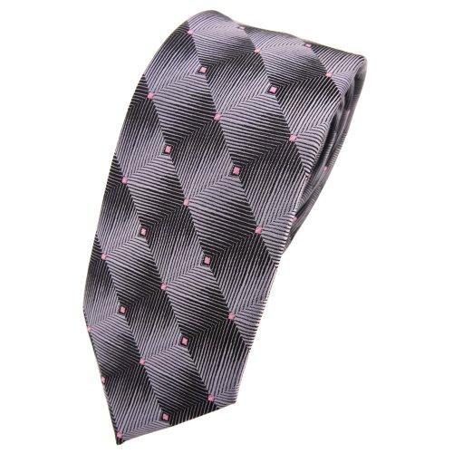 Schmale TigerTie Krawatte grau silber anthrazit rosa gepunktet - Tie Binder