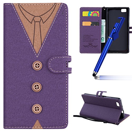 MoreChioce kompatibel mit Huawei P8 Lite Hülle,kompatibel mit Huawei P8 Lite Leder Flip Case, Fashion Lila Nähen Krawatte Stoff Schutzhülle Klapptasche Stand Brieftasche Magnetverschluß,EINWEG