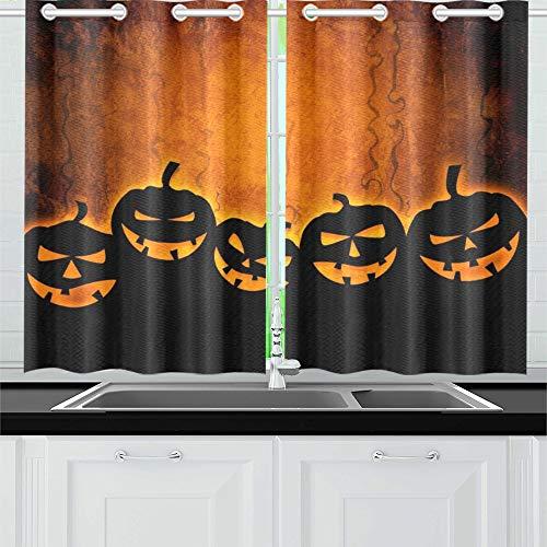 JIUCHUAN Halloween Your Design Küchenvorhänge Fenster Vorhangebenen für Café, Bad, Wäscherei, Wohnzimmer Schlafzimmer 26 x 39 Zoll 2 Stück (Halloween 26 Party-oktober)