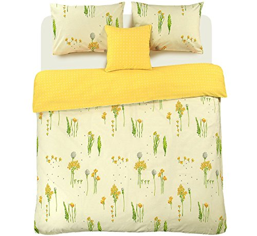 Nimsay Home Summer Breeze Printed Floral 100% Cotton Duvet Cover Pillowcase Reversible Quilt Bedding Set Bloom Bright Leaves- Super King