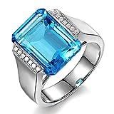 11.55Ct SeltenTopas Swiss Blau Solide 14K (585) Weißgold Diamant Ring