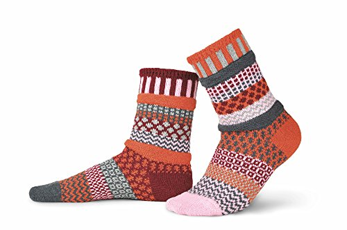 Solmate Socks Damen Socken, Gestreift mehrfarbig mehrfarbig Gr. X-Large, Persimmon (Vintage Keds)