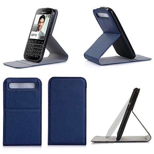 Blackberry Classic Q20 2015 Tasche Leder Hülle navy blau Stand UP Cover - Zubehör Etui Vertikal neu Blackberry Classic Q20 Flip Case Schutzhülle (PU Leder, Handytasche Blue) - XEPTIO accessories