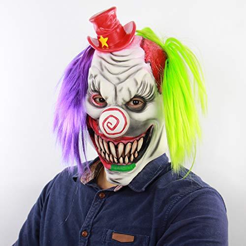 Horror Red Hat Clown Wig Halloween Beängstigend Heimgesuchte Haus Zimmer Escape Dress up Live Lustige Maske (Beängstigend Häuser Für Halloween)