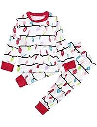beautyjourney Mono de bebé recién Nacido Mono y Camisa de Jersey para niños Pantalón y Mama A Line Party Vestido de cóctel | Pijama de la Familia Ropa de Dormir Navidad Set