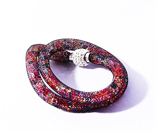 Armband Netzschlauch zweireihig Glitzerkristallen u. Shamballa Kugel Trendschmuck Armband Damen Wickelarmband Armschmuck Modeschmuck Nylon Netzschlauch Schmuck Damenschmuck bunt von MyBeautyworld24