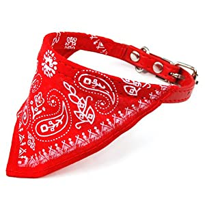 TOOGOO(R) Bandana/Foulard reglable pour les animaux, chien,chat... /rouge/ petite taille